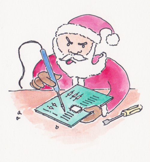 Santa tinkering with some electronics