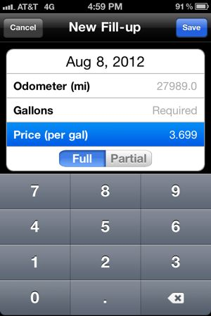 Screenshot of adding price per gallon on app.