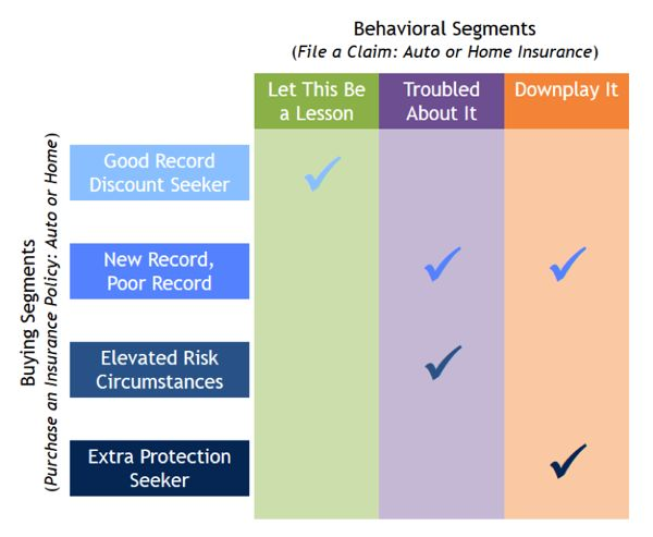 A chart showing that the following combinations of segments are important to this insurance business: Good Record Discount Seeker + Let This Be a Lesson; New Record, Poor Record + Troubled About It; New Record, Poor Record + Downplay It; Elevated Risk Circumstances + Troubled About It; and Extra Protection Seeker +  Downplay It.