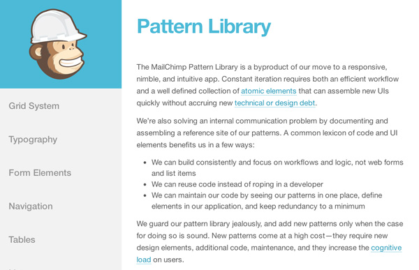 Mailchimp Pattern Library screenshot